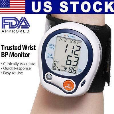 Wrist High Blood Pressure Monitor BP Cuff Gauge Heart Rate Automatic Machine...
