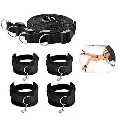 Under Bed Bondage Set Restraint Rope Kit Ankle Cuffs System BDSM Toy - Black