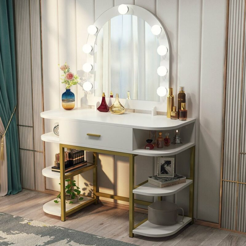 9 Bulbs Makeup Dressing Table with Large Mirror Drawer& Multi Shelves Vanity Set