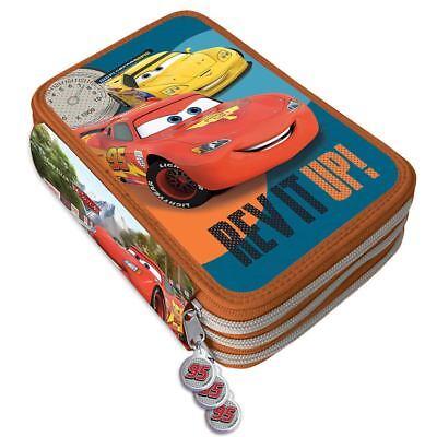Astuccio Portapastelli Scuola 3 Zip Disney Cars Accessoriato Pastelli Pennarelli