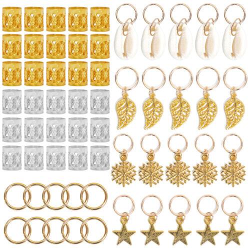 80x set hair rings beads cuffs tubes