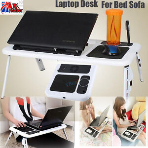 Laptop Lap Desk Foldable Table E-Table Bed Sofa With USB Cooling Fans Stand Tray