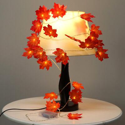 9.8FT Xmas Decor Harvest Maple Leaves Lighted Fall Garland 30 LED String Lights