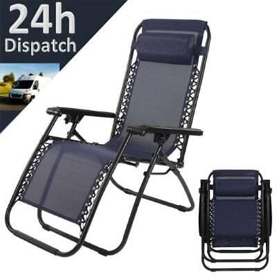 Portable Reclining Chair Sun Lounger Outdoor Garden Patio Folding Beach Recliner