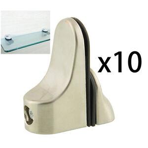 10pcs Glass Wood Shelf Brushed Adjustable Bracket Holder Clamp Clip Bathroom