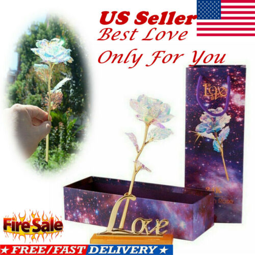 Galaxy Rose Flower Valentine's Day Lovers Gift Crystal Rose