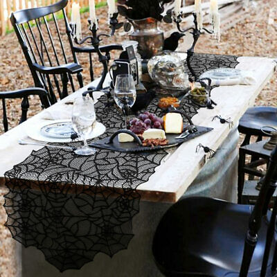 Black Lace Spider Web Table Runner Tablecloth Party Home Dinner Halloween Decor