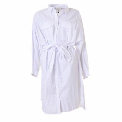 GESTUZ Vestido Camisero Algodón Blanco Grande Talla 36 / GB 8 Se...