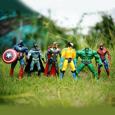 6pcs Marvel The Avengers Super Hero Hulk Captain Batman Figure Action Kids Toy