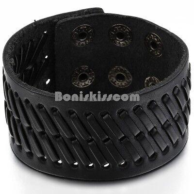Super Wide Black Leather Men's Boys Adjustable Cuff Strap Wristband Bracelet