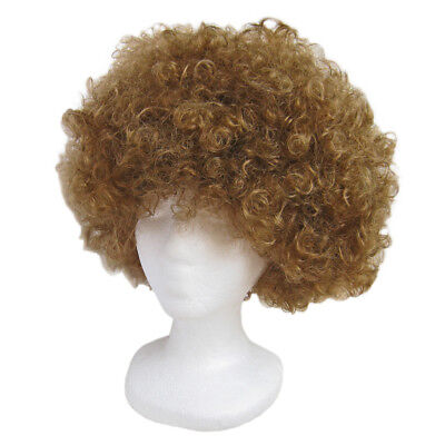 Economy Brown Afro Wig ~ HALLOWEEN 60s 70s DISCO CLOWN COSTUME PARTY CURLY FRO - Brown Afro