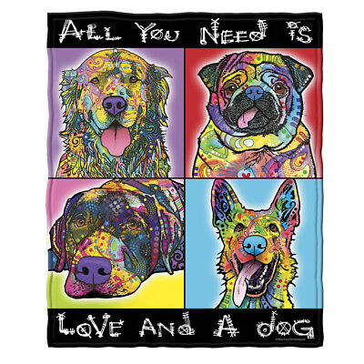 Dean Russo Love And a Dog Fleece Throw Blanket