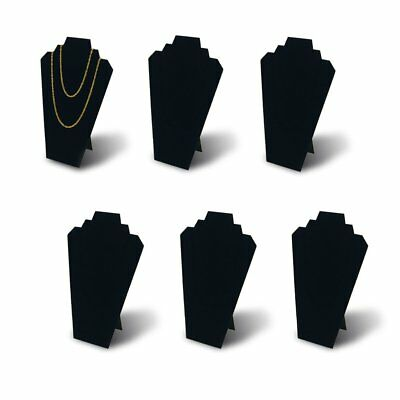 Jewelry Necklace Display Stand 12.5 Black Velvet 6 Pieces W Reinforced Bracket