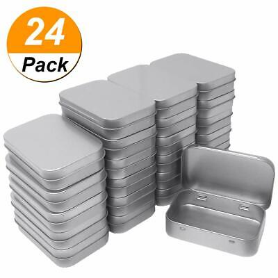 24 Pack Metal Rectangular Empty Hinged Tins Box Containers Mini Portable Box - Small Metal Containers
