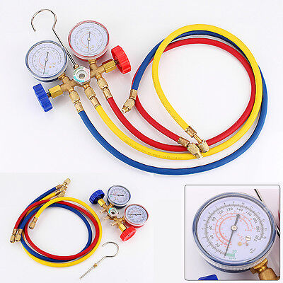 UK Stock Refrigeration Air Conditioning AC Diagnostic Manifold Gauge Tool Set
