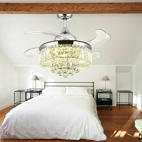 """42"""" Invisible Ceiling Fan Light Crystal Chandelier Pendant Lamp w/Remote - Silver 2"""