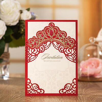 Red Gold Crown Invitations Card Invite Set Fancy Wedding Birthday Bridal Shower