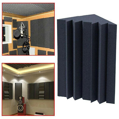 4 Pack 12x12x25cm Acoustic Foam Bass Trap Studio Soundproofing Wall Corner Black