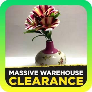 Ceramic Vase with Flower Design HOMEWARES Tullamarine Hume Area Preview