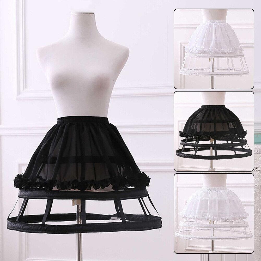 Lolita Girls Chiffon Skirt Petticoat Adjustable Hoop Bustle Crinoline Pannier