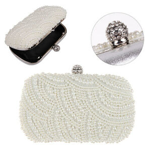 Ivory Handmade Gorgeous Pearl Bag Prom Wedding Evening Clutch Handbag Purse
