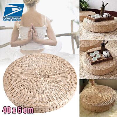 40cm×6cm Straw Floor Round Pouf Pillow Yoga Seat Mat Tatami Seat Cushion Pad ()