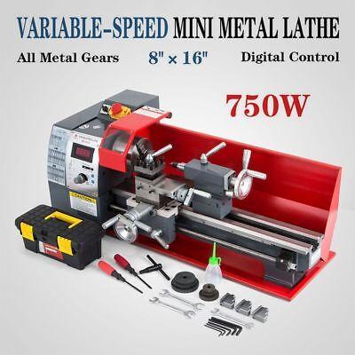 8 X 16 750w Variable-speed Mini Metal Lathe Bench Top Digital