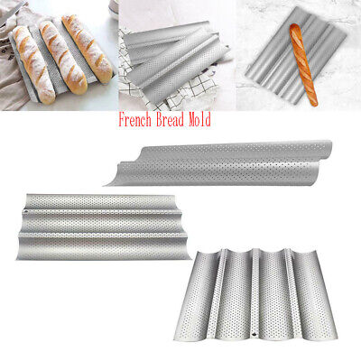 Non Stick Perforated Baguette Pan (Non-Stick Perforated French Bread Pan Baguette Mold Wave Loaf Bake Baking)