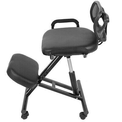 Office Kneeling Chair W Back Ergonomic Adjustable Posture Knee Stool Seat Black
