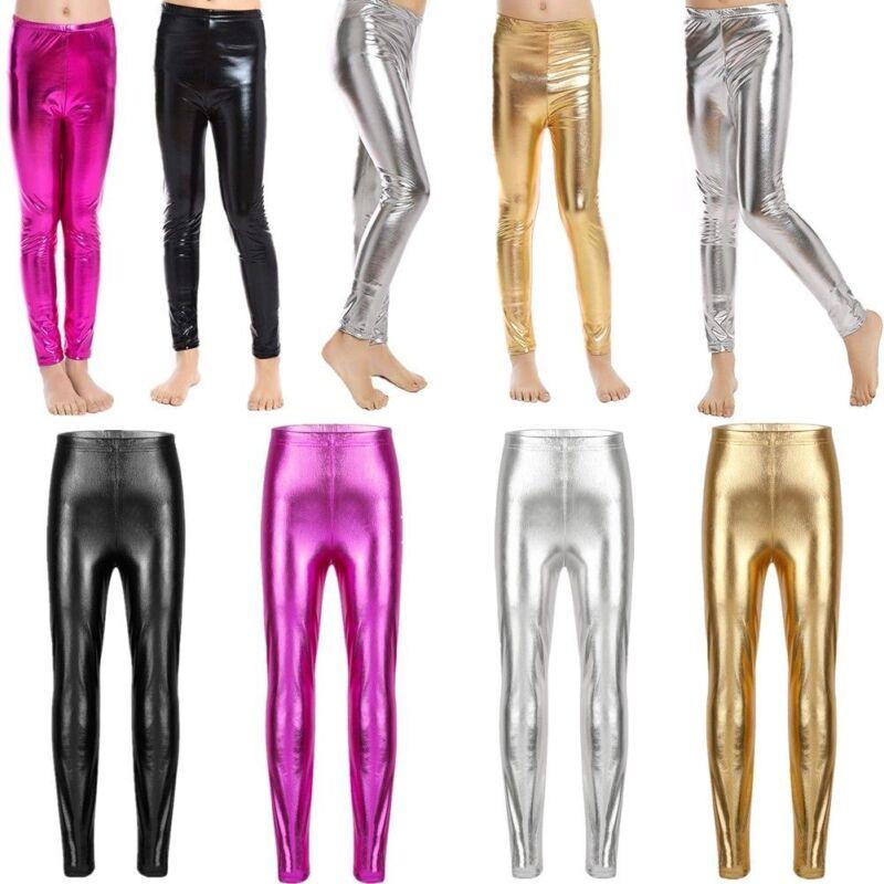 Girls Black Wet Look Metallic Leggings Disco Shine Crop Top Sets Dance Class