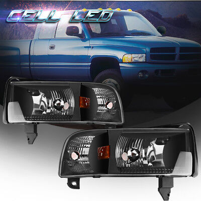 For 1994-2001 Dodge Ram 1500 2500 3500 Pickup Black Headlights Headlamp Assembly for sale  Shipping to Canada