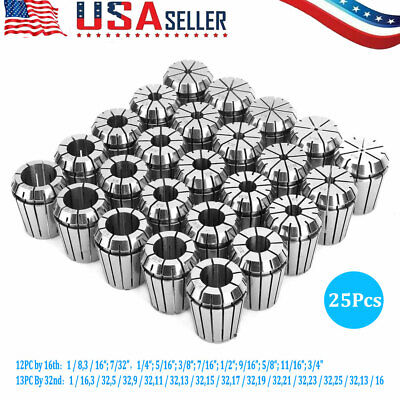 Er32 Collet Set 18-1316 By 16th And 32nd Industrial Grade Accurate 25pcs