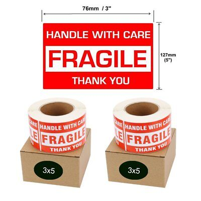 1000 3x5 Handle With Care Thank You Fragile Shipping Stickers Labels 500roll