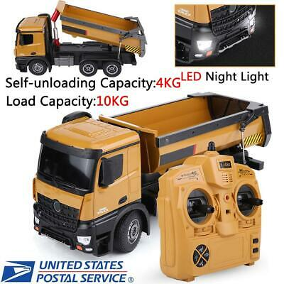 HUINA RC Dump Truck Remote Control Engineering Vehicle 10CH 1/14 Scale W/ Lights