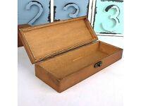 Vintage Jewelry Pen Pencil Gift Box Wooden Trinket Retro Earring Storage Case