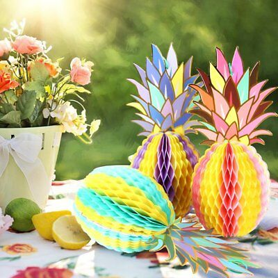 3Pc Tropical Honeycomb Pineapple Party Event Centerpiece Table Hang Decoration