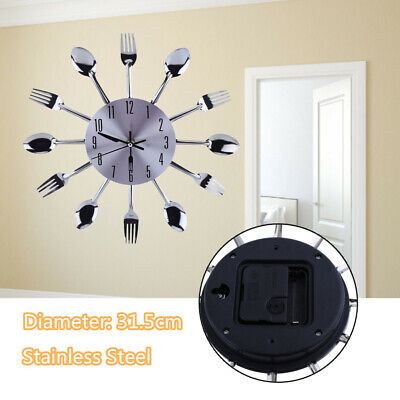 Modern Design Utensil Wall Clock Spoon &Fork Decorative for Kitchen 12.4 Silver