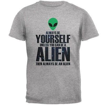 Halloween Always Be Yourself Alien Heather Grey Adult T-Shirt (Heather Halloween)