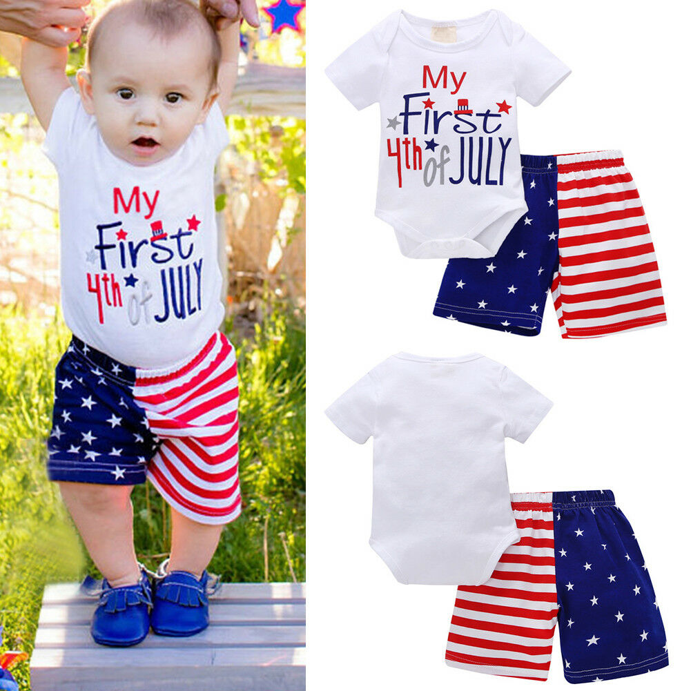 8f2247440 My First 4th of July Baby Boys Girls Stars Stripes Romper Bodysuit ...