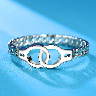 Handcuff Ring (Creative Personalized Handcuffs Ring Chic Link Chain Design 925 Silver)