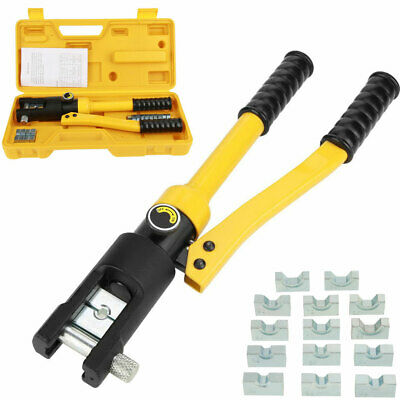 10ton 7 Dies Hydraulic Wire Terminal Crimper Battery Cable Lug Crimping Tool New