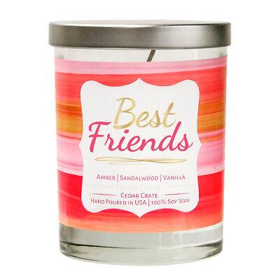 Best Friends, Amber Sandalwood Vanilla Scented Candle 100% Soy (Best Vanilla Scented Candles)