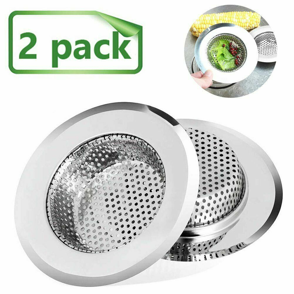 New 2 Pack Kitchen Sink Strainer Stainless Steel Mesh Bath Drain Stopper Filter Colanders, Strainers & Sifters