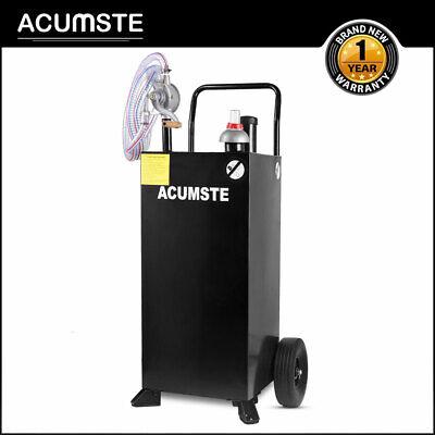 30 Gallon Gas Caddy Tank Portable W Pump Wheel Hose Fuel Gasoline Diesel Black