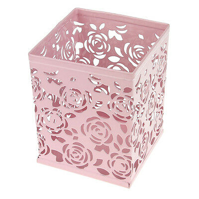 Pink Hollow Rose Square Metal Pen Pencil Holder Desktop Organizer Container New