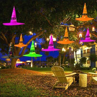 Halloween Decorations Witches Outdoor (Halloween Decorations Outdoor 10Pcs Hanging Lighted Glowing Witch Hat 36ft)