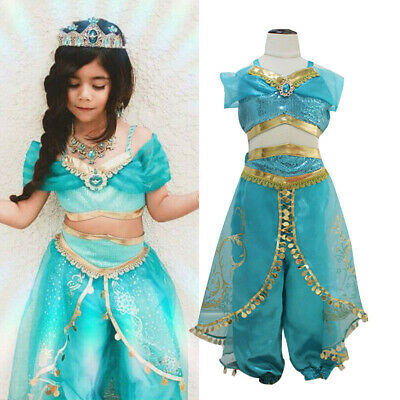 Kids Aladdin Costume (2019 Aladdin Jasmine Princess Cosplay Kid Girl Fancy Dress Up Party Costume)