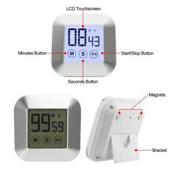 Smart Touchscreen LCD Digital Kitchen Timer Count-Down Up 30s Loud Alarm Clock
