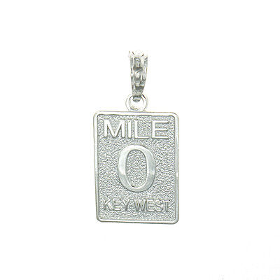 Sterling Silver Travel Charm Pendant, Small Mile Marker 0 Key West, Florida ()