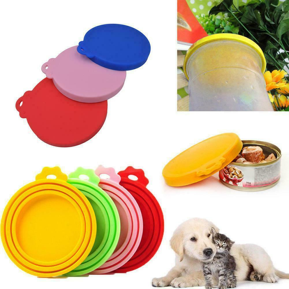 Pet Food Can Cover Lid Dog Cat Tin Silicone Plastic Storage